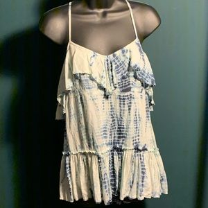 NWOT Free People blue/white bead tie dye top 5/$95